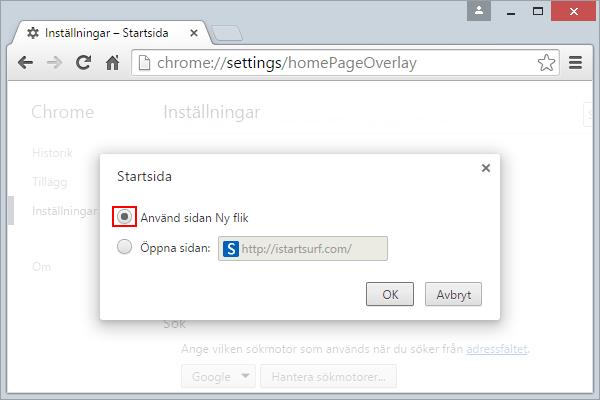 Chrome Startsida Istartsurf