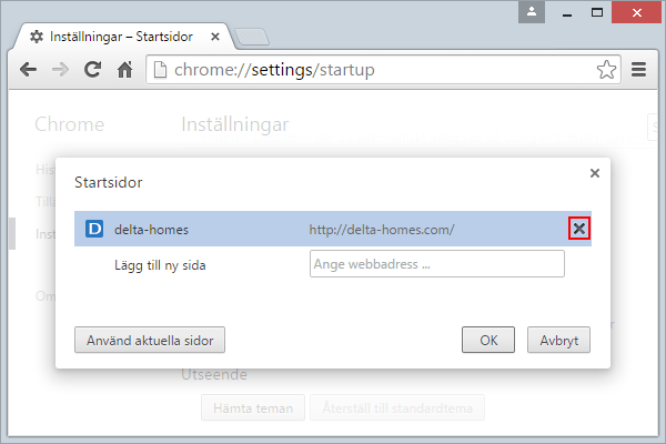 Chrome Startsidor