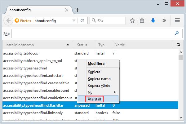 Firefox Installningsnamn Aterstall