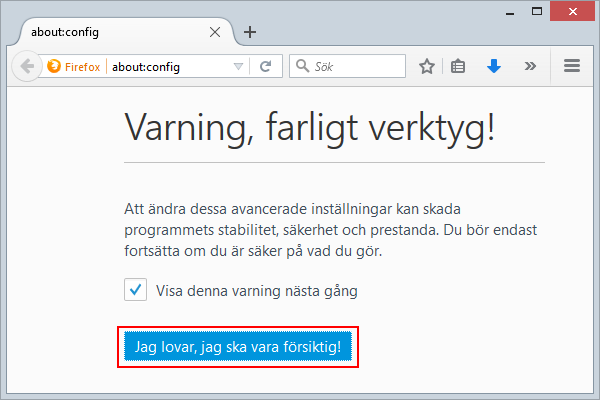 Firefox Varning
