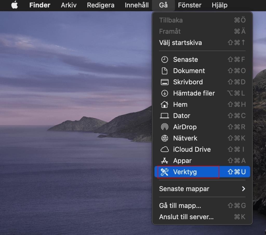 Gå till Verktygsprogram eller Verktyg på Mac