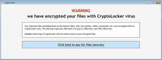 Varningsskärm hos CryptoLocker