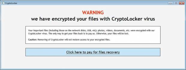 Varningsskärm hos CryptoLocker